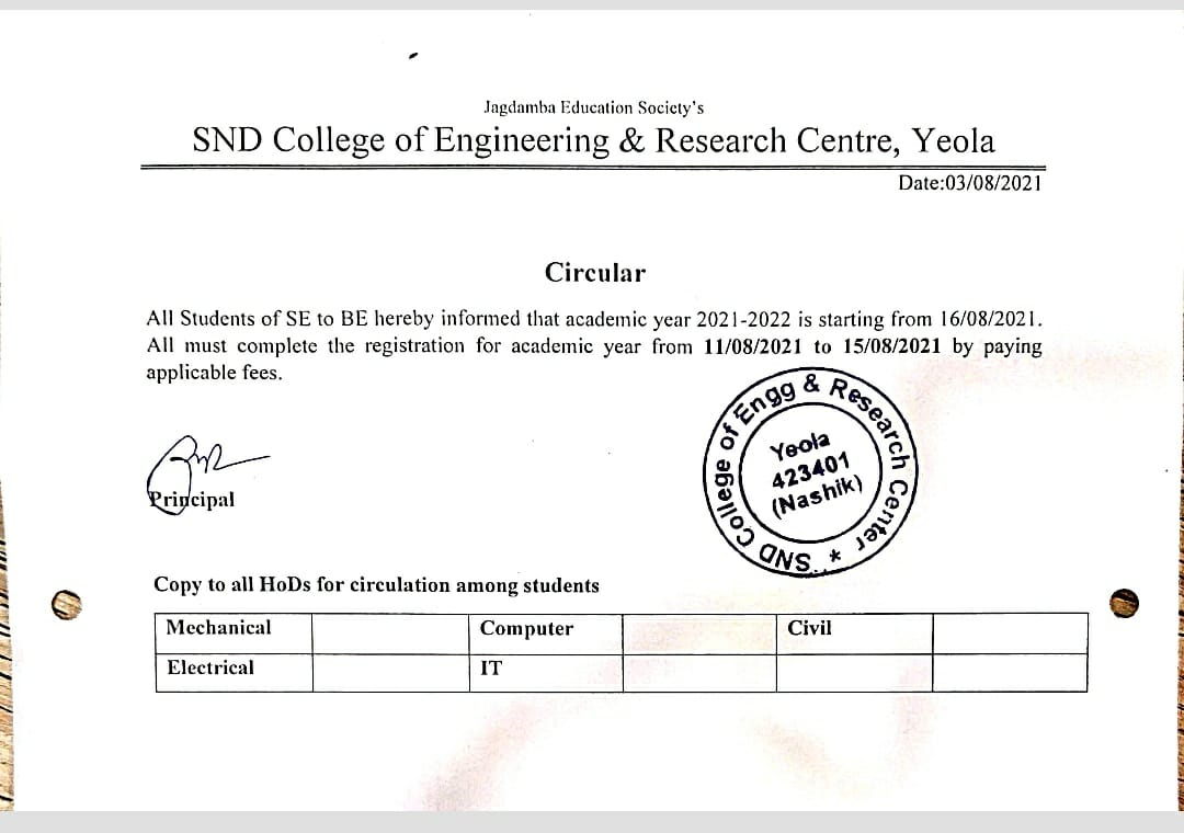 Student Registration Notice for Academic year 2021-22